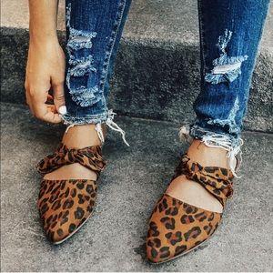 Shoes - Leopard cheetah mules slip on ribbon flats shoes